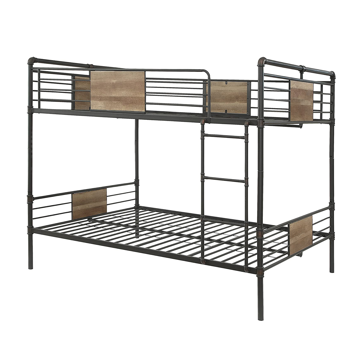 "83"" X 65"" X 68"" Queen Over Queen Sandy Black And Silver Metal Bunk Bed"