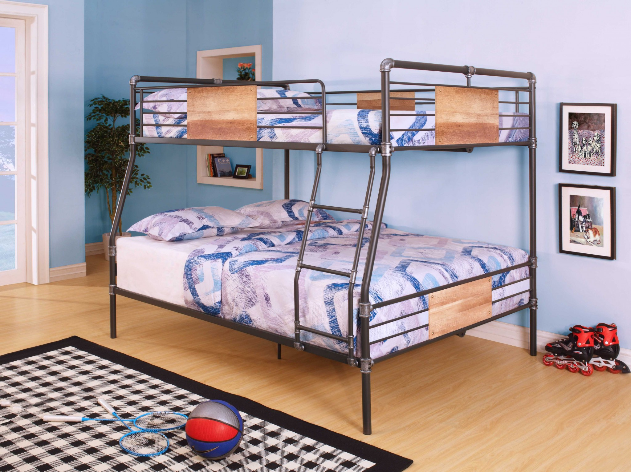 "83"" X 65"" X 68"" Full Xl Over Queen Sandy Black And Silver Metal Bunk Bed"
