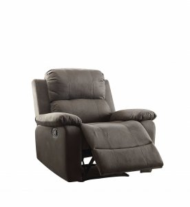 "38"" X 38"" X 39"" Charcoal Polished Microfiber Fabric Recliner"