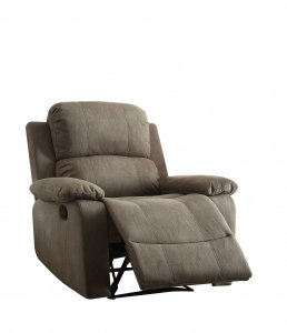 "38"" X 38"" X 39"" Gray Polished Microfiber Fabric Recliner"