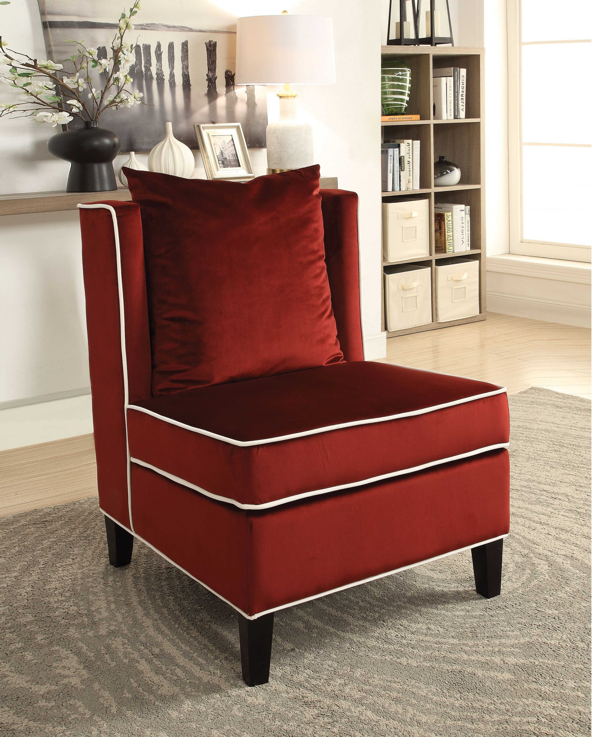 "29"" X 32"" X 39"" Red Velvet Accent Chair"