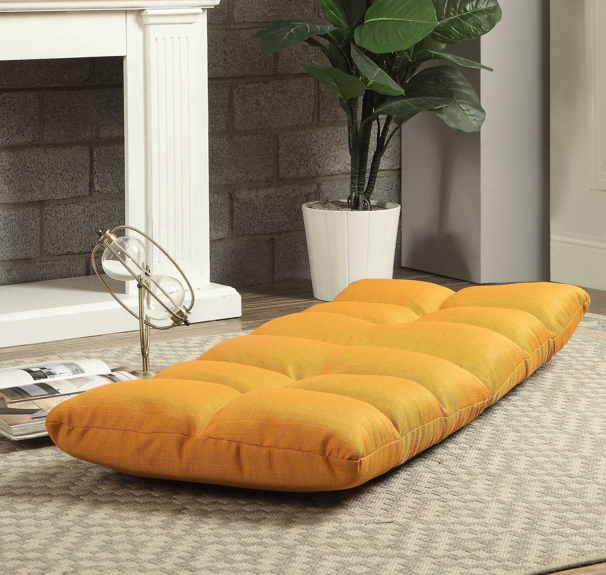 """51"""" X 20"""" X 4"""" Tangerine Linen Gaming Floor Chair"""
