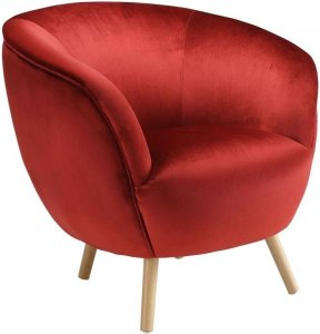 "35"" X 39"" X 33"" Red Velvet Accent Chair"