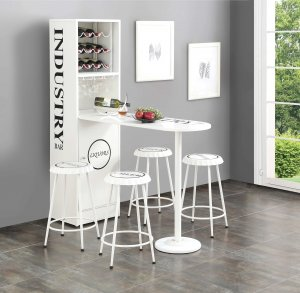 """63"""" X 19"""" X 67"""" White Metal Counter Height Table"""