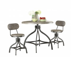 "36"" X 36"" X 36"" 3pc Pack Gray Oak Adjustable Counter Height Dining Set"