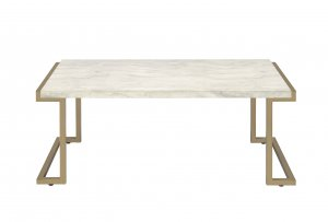 "44"" X 23'.75"" X 18"" Faux Marble Champagne Coffee Table"