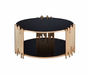 "37"" X 37"" X 18"" Black Glass And Gold Coffee Table"