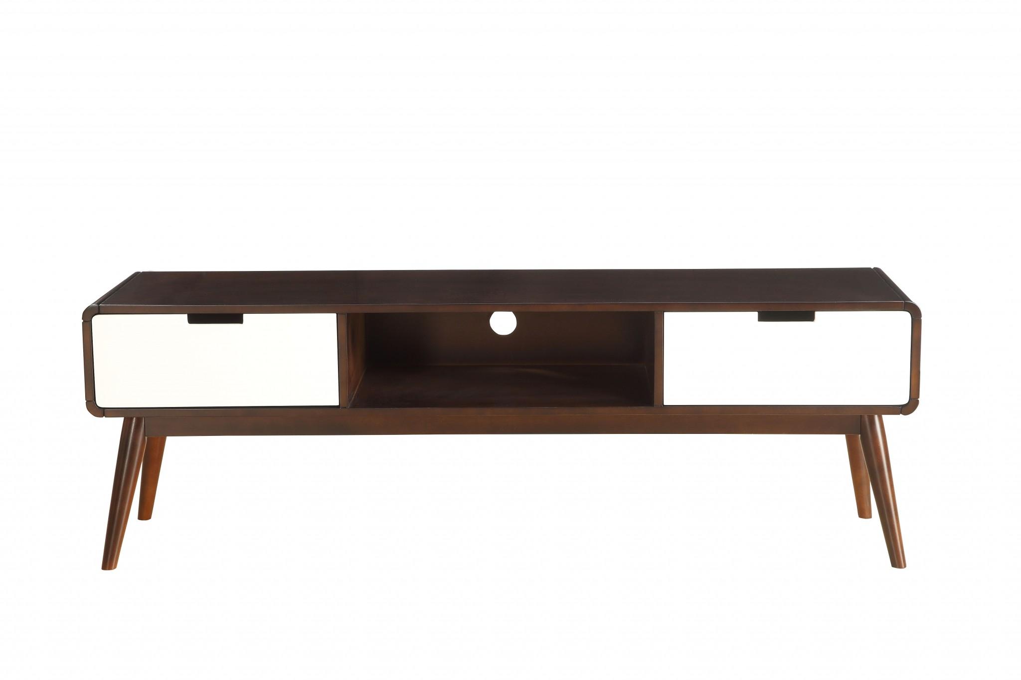 Tv Stand In Espresso & White - Mdf, Wood Veneer, Solid W Espresso & White