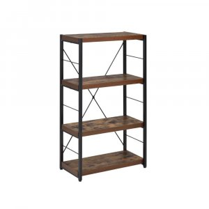 Industrial Rustic Dark Weathered Oak Finish Bookcase