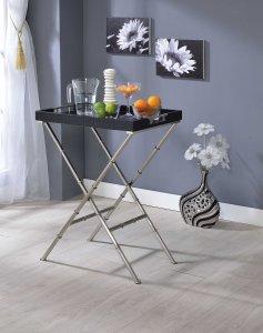 "24"" X 15"" X 31"" Black Wood Tray Table"
