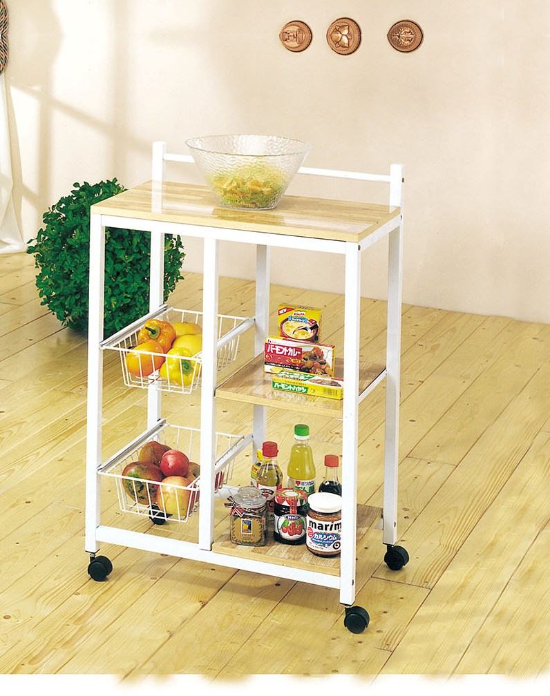 "23"" X 16"" X 40"" White And Natural Metal Kitchen Cart"