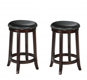 "15"" X 15"" X 24"" 2pc Espresso Swivel Counter Height Stool"