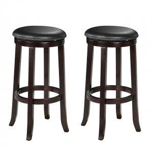 "18"" X 18"" X 29"" 2pc Espresso Swivel Bar Chair"