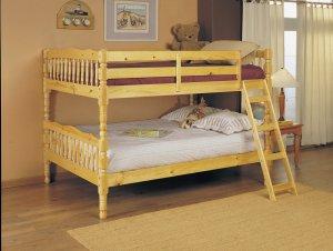 Full/Full Bunk Bed, Natural - Pine Wood Natural