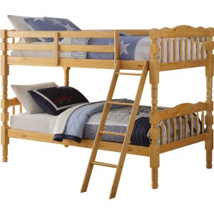 """81"""" X 43"""" X 60"""" Twin Over Twin Natural Pine Wood Bunk Bed"""