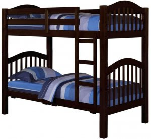 """80"""" X 43"""" X 69"""" Espresso Pine Wood Twin Over Twin Bunk Bed"""