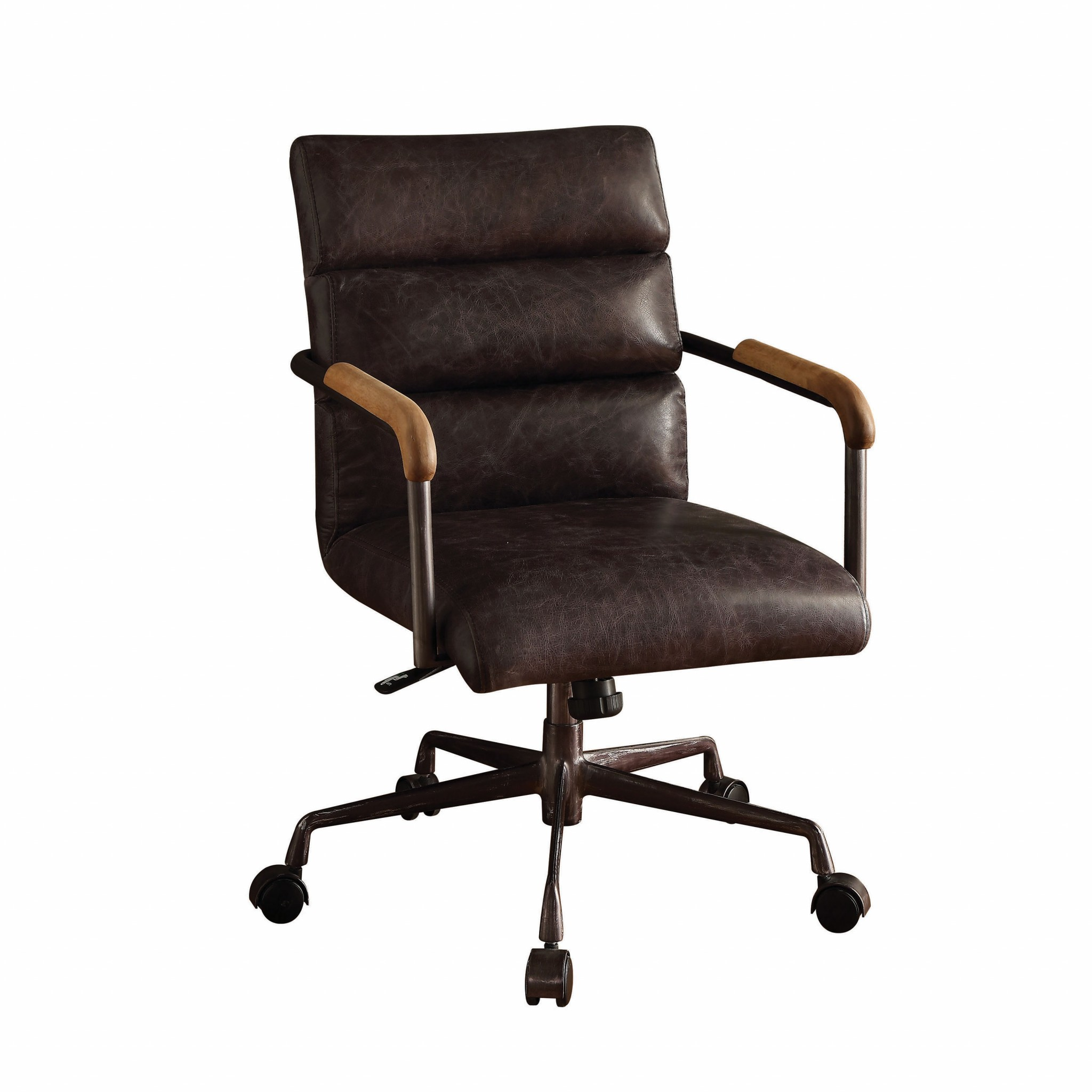 "22"" X 26"" X 35-38"" Antique Ebony Top Grain Leather Office Chair"