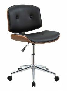 "20"" X 22"" X 31"" Black And Walnut Office Chair"
