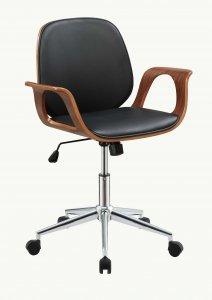 "26"" X 22"" X 34"" Black And Walnut Office Chair"
