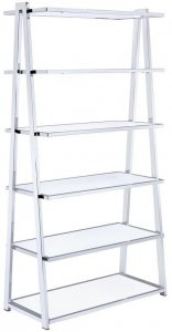 "36"" X 16"" X 71"" White High Gloss And Chrome Bookcase"