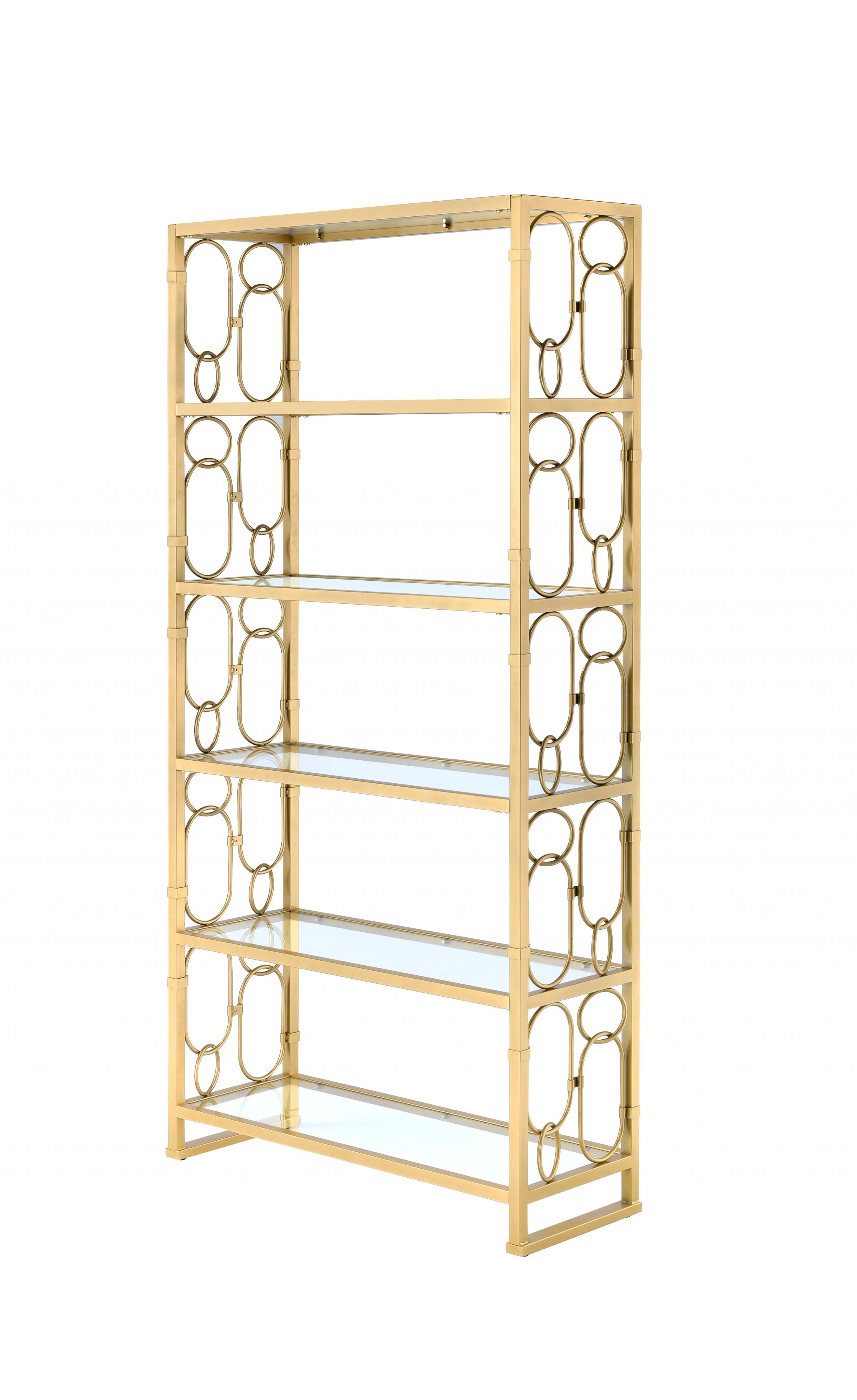 "36"" X 19"" X 77"" Clear Glass And Gold Bookcase"