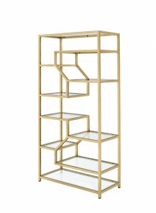 "38"" X 16"" X 71"" Clear Glass And Gold Bookcase"