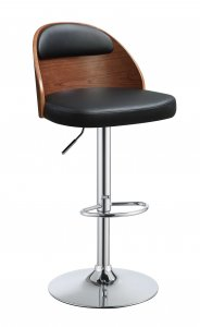 Black Leather Walnut Wooden Back Adjustable Stool