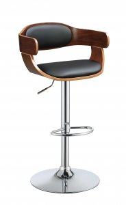 "34"" Sleek Walnut Finish Black Faux Leather Adjustable Swivel Bar Stool with Chrome Base"