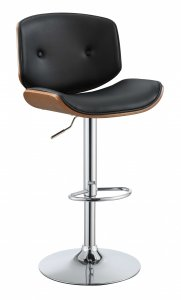 Contemporary Black And Walnut Adjustable Stool