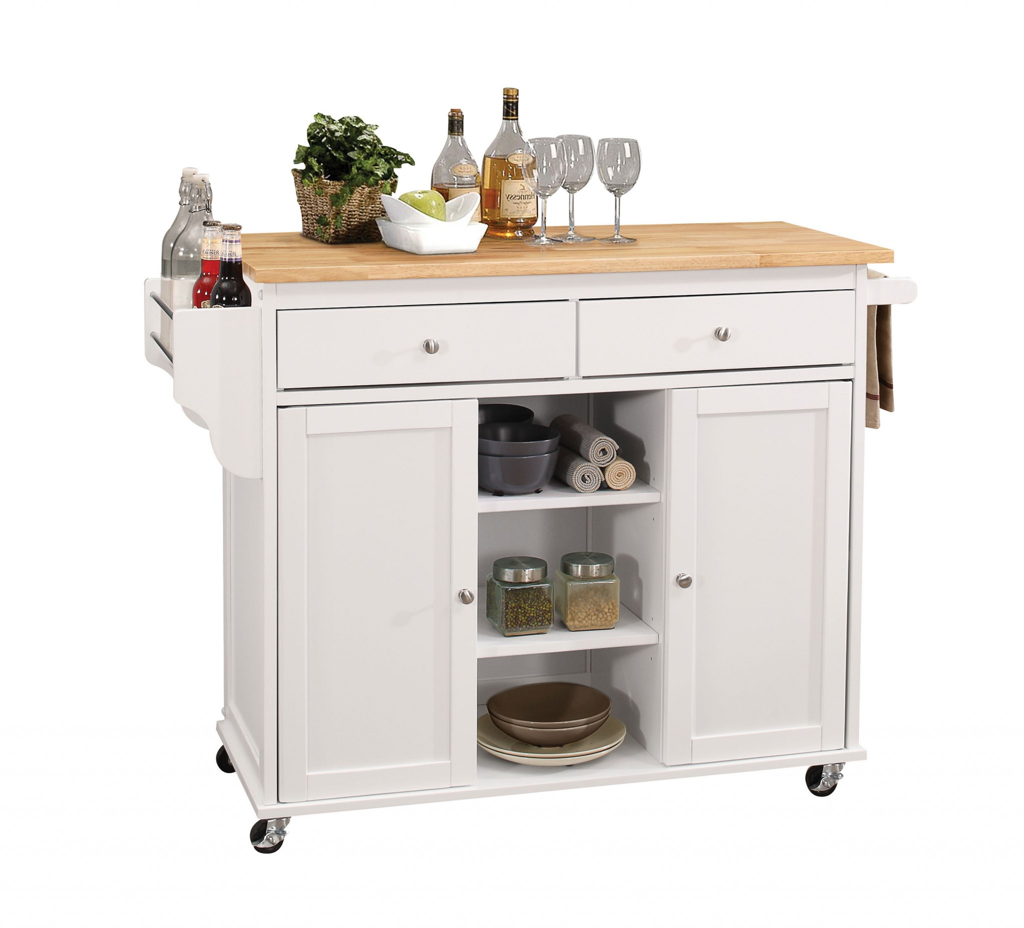 Kitchen Island In Natural And White - Rubber Wood, Mdf Natural And White