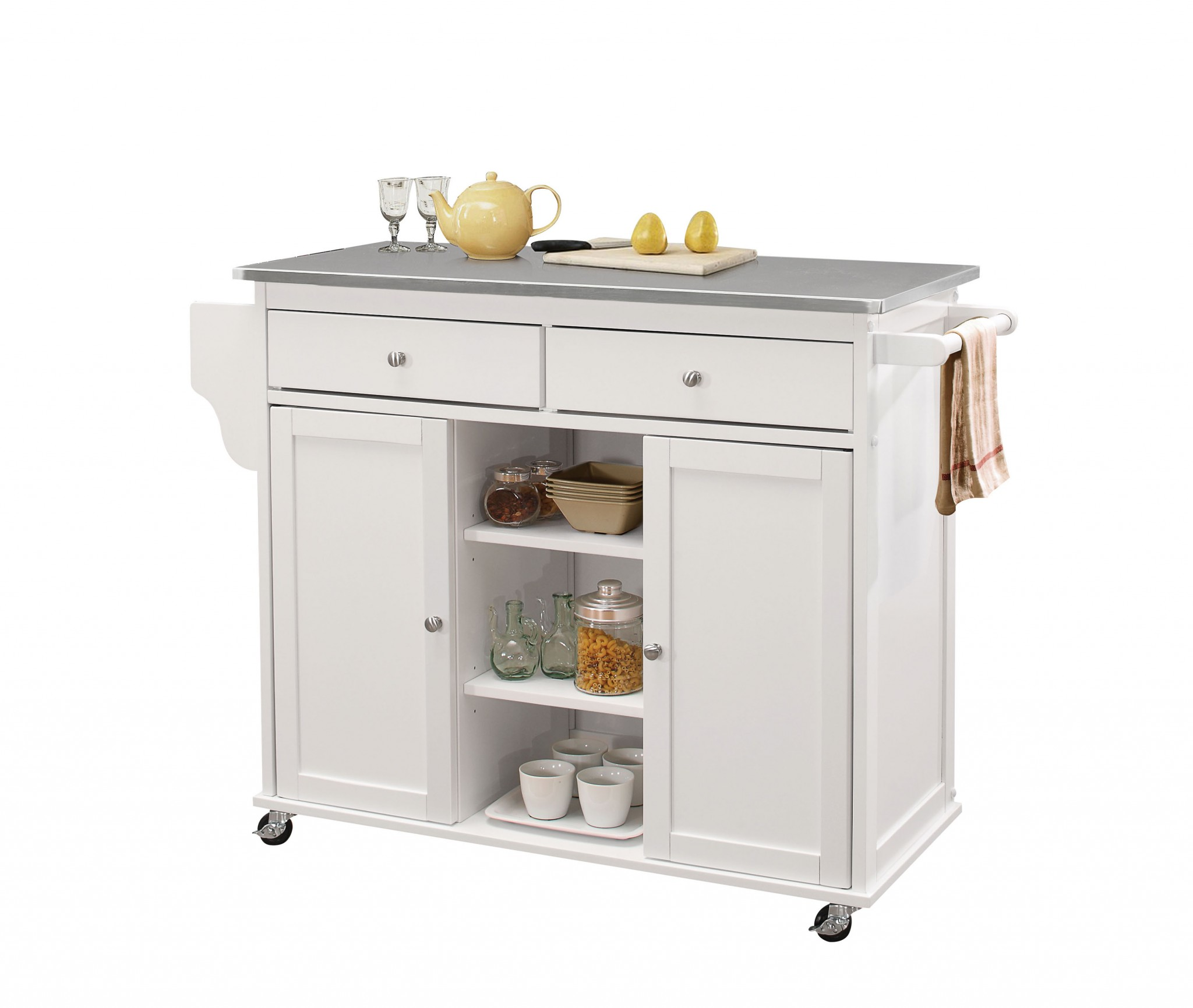 "47"" X 18"" X 34"" Stainless Steel And White Kitchen Island"