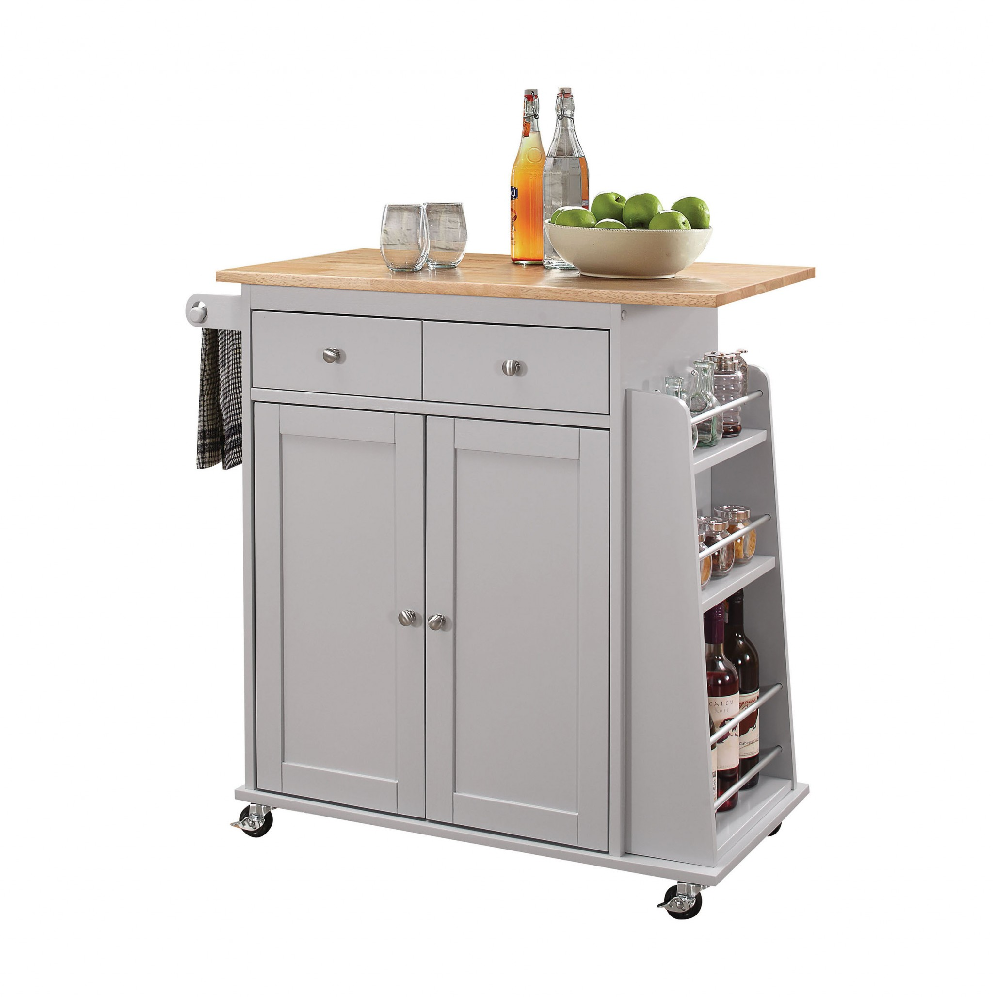 """35"""" X 18"""" X 34"""" Natural And Gray Rubber Wood Kitchen Cart"""