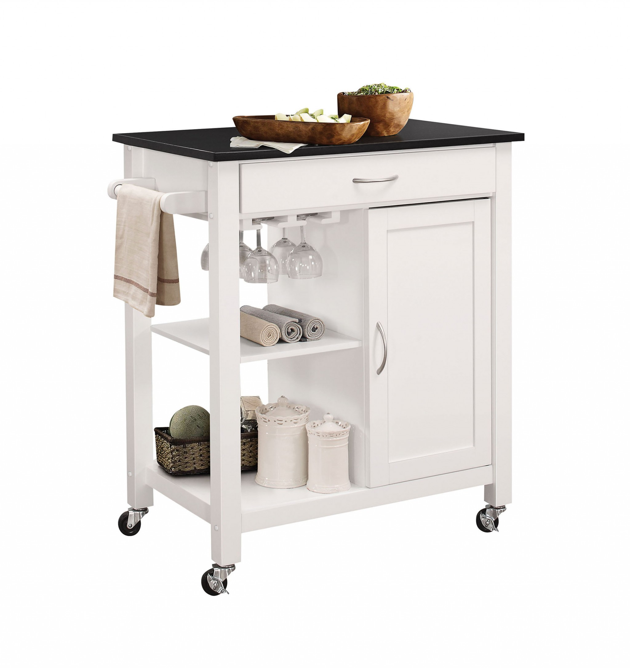 "32"" X 19"" X 34"" Black And White Rubber Wood Kitchen Cart"