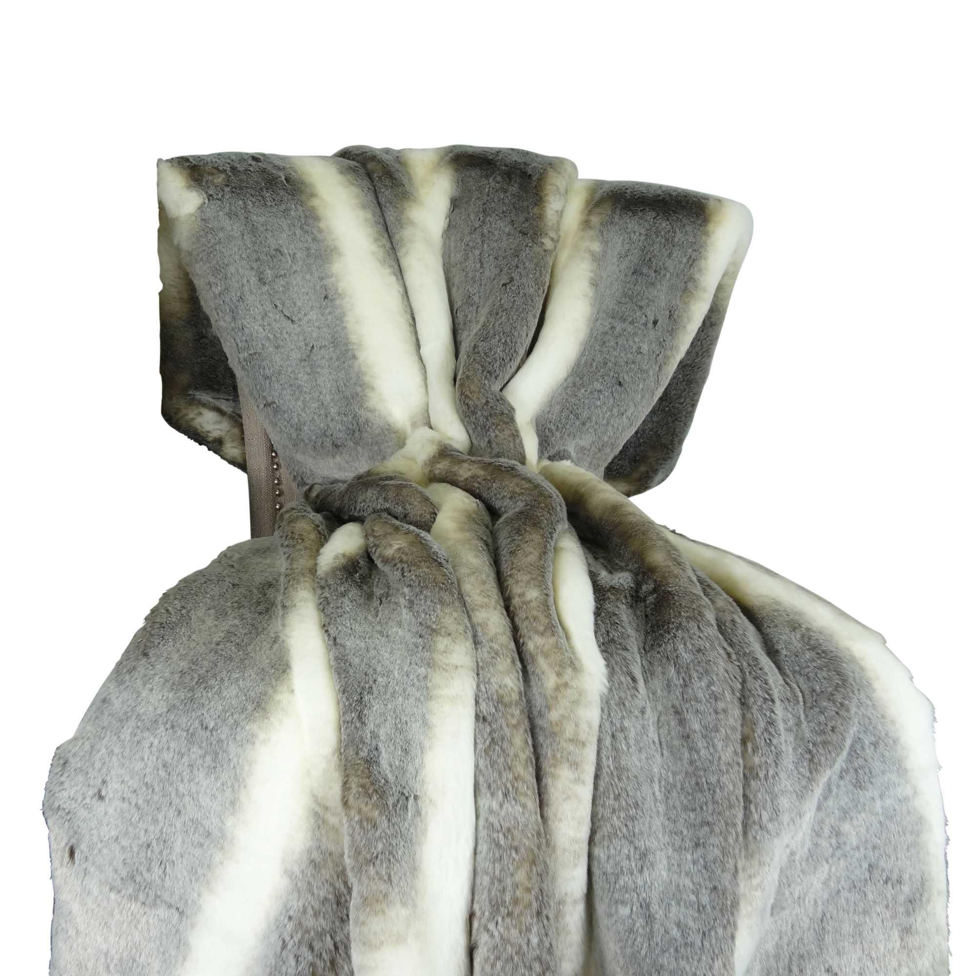 Tissavel Chinchilla Faux Fur Handmade Throw / Blanket