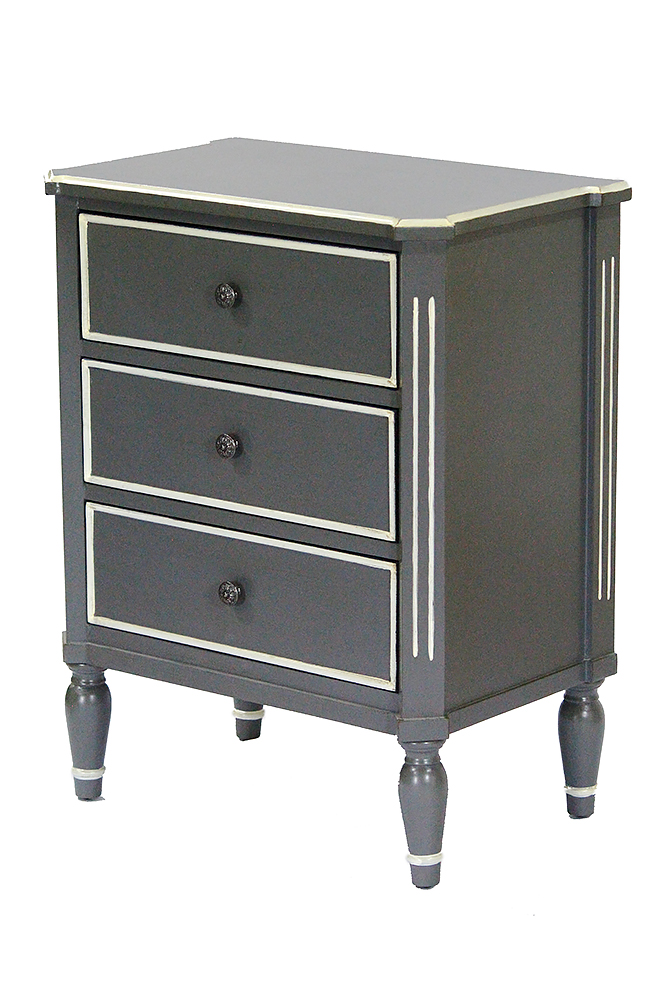 30.5' Gray Wood Accent Cabinet with 3 Drawers