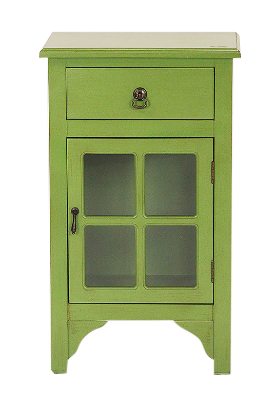 Green Wood Clear Glass Accent Cabinet with a Drawer, a Door and Paned Inserts
