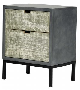 """22"""" X 14"""" X 27"""" Gray W  Distressed Gray MDF  Wood  Iron Accent Cabinet with Drawers"""