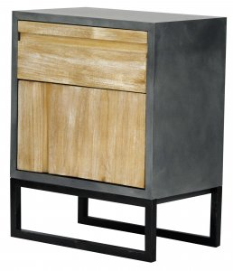 """22"""" X 14"""" X 27"""" Gray W  Distressed Wood MDF  Wood  Iron Cabinet with a Drawer and a Door"""
