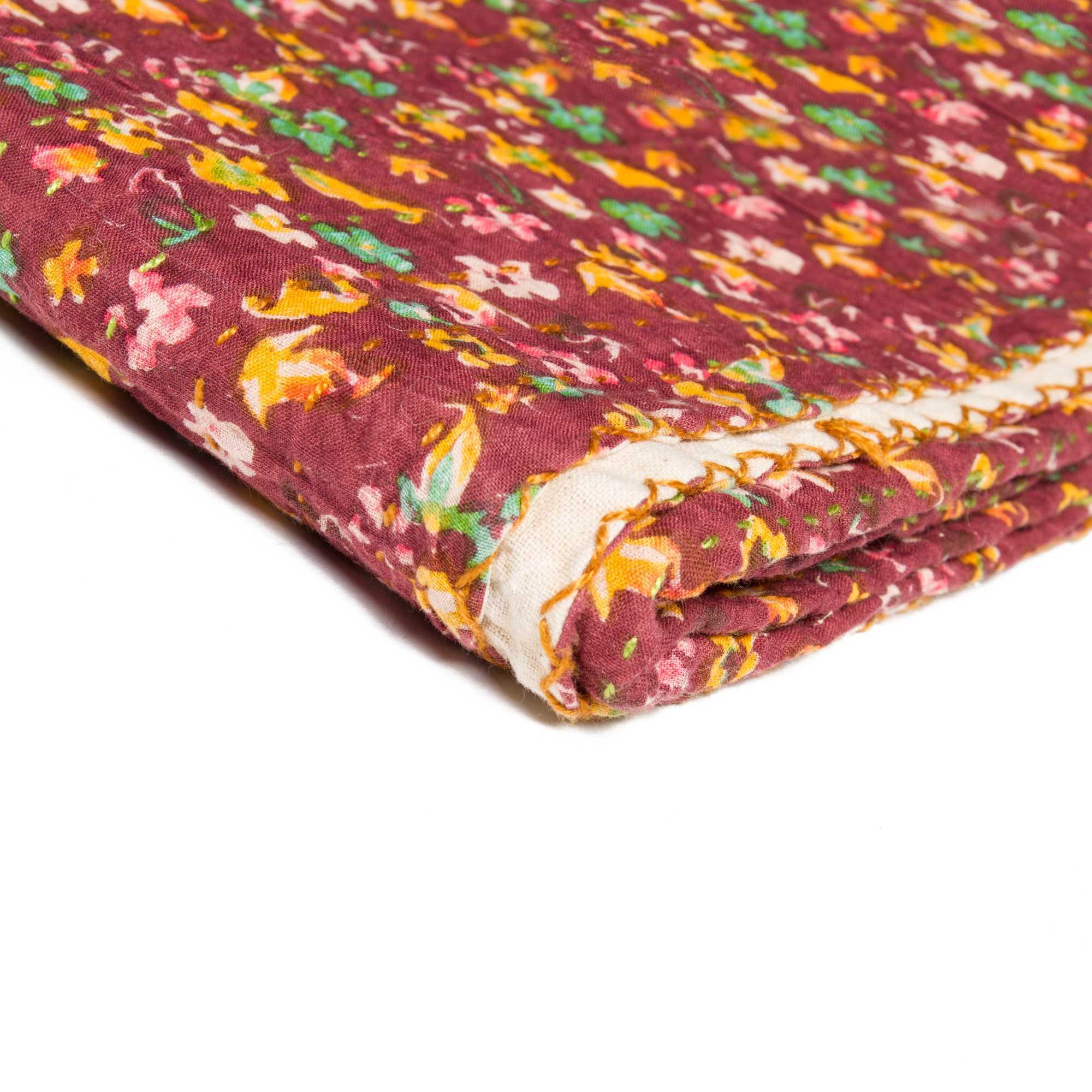 "50"" X 70"" Maroon Warm And Soft Kantha Cotton Throw Blanket"