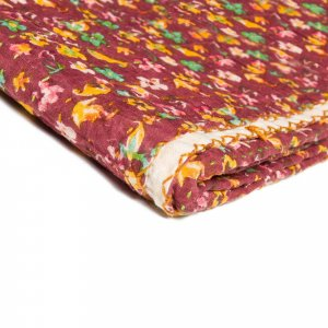 "50"" x 70"" Maroon, Kantha Cotton - Throw Blanket"