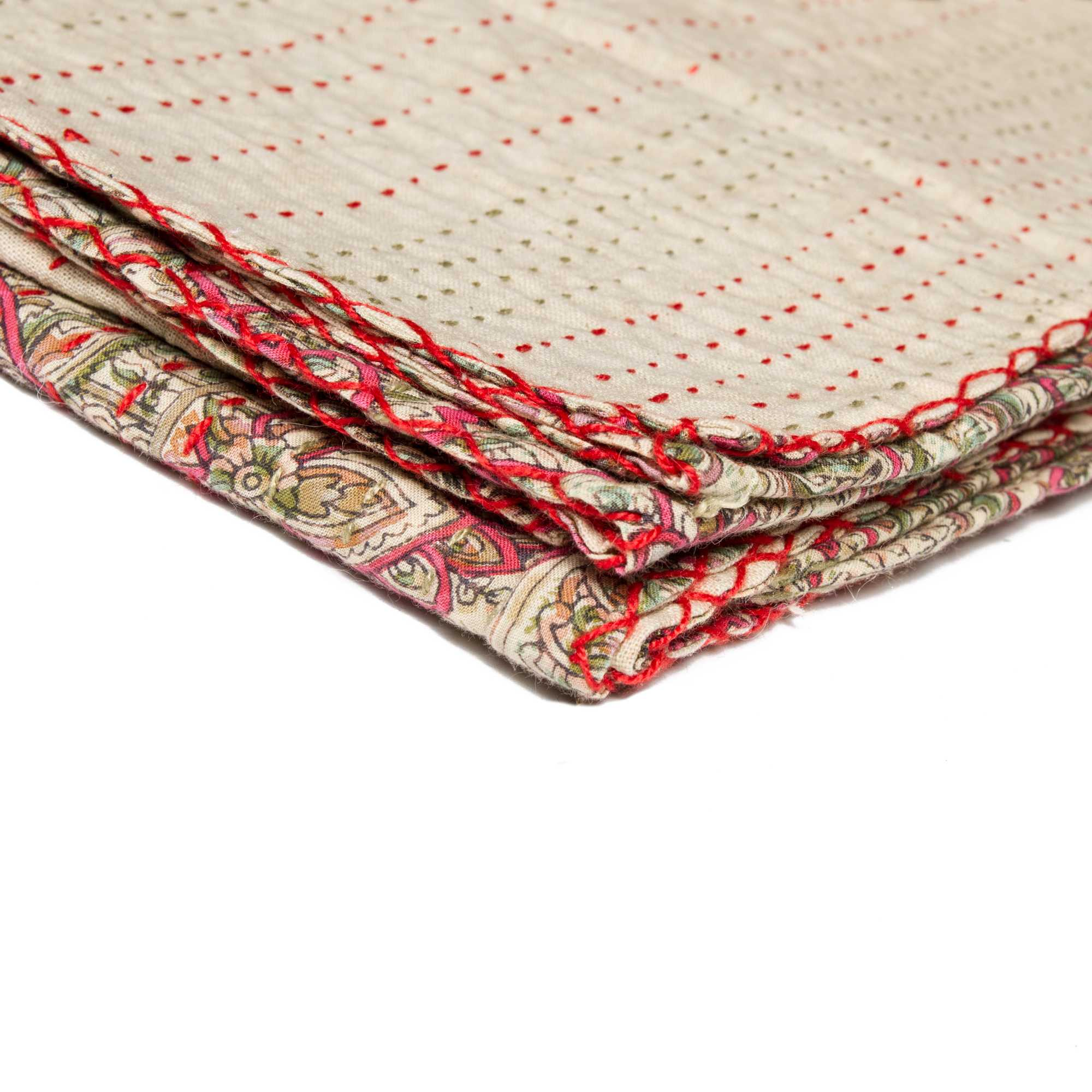 """50"""" X 70"""" Beige Soft And Comfortable Kantha Throw Blanket"""