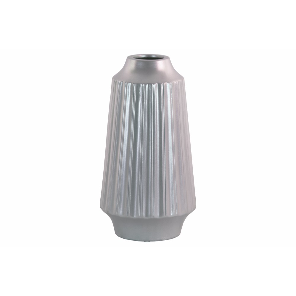 Round Vase with Round Lip Ribbed Design Body- Large- Silver