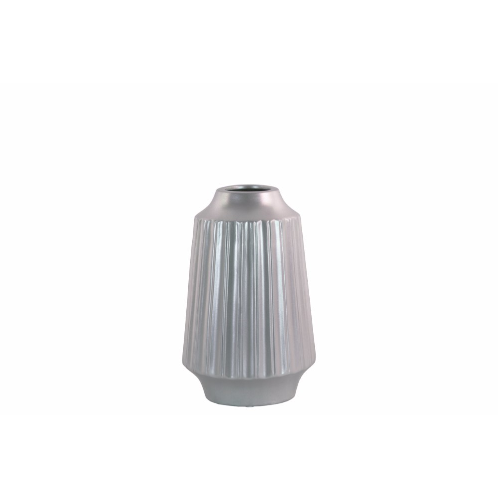 Round Vase with Round Lip Ribbed Design Body- Small- Silver