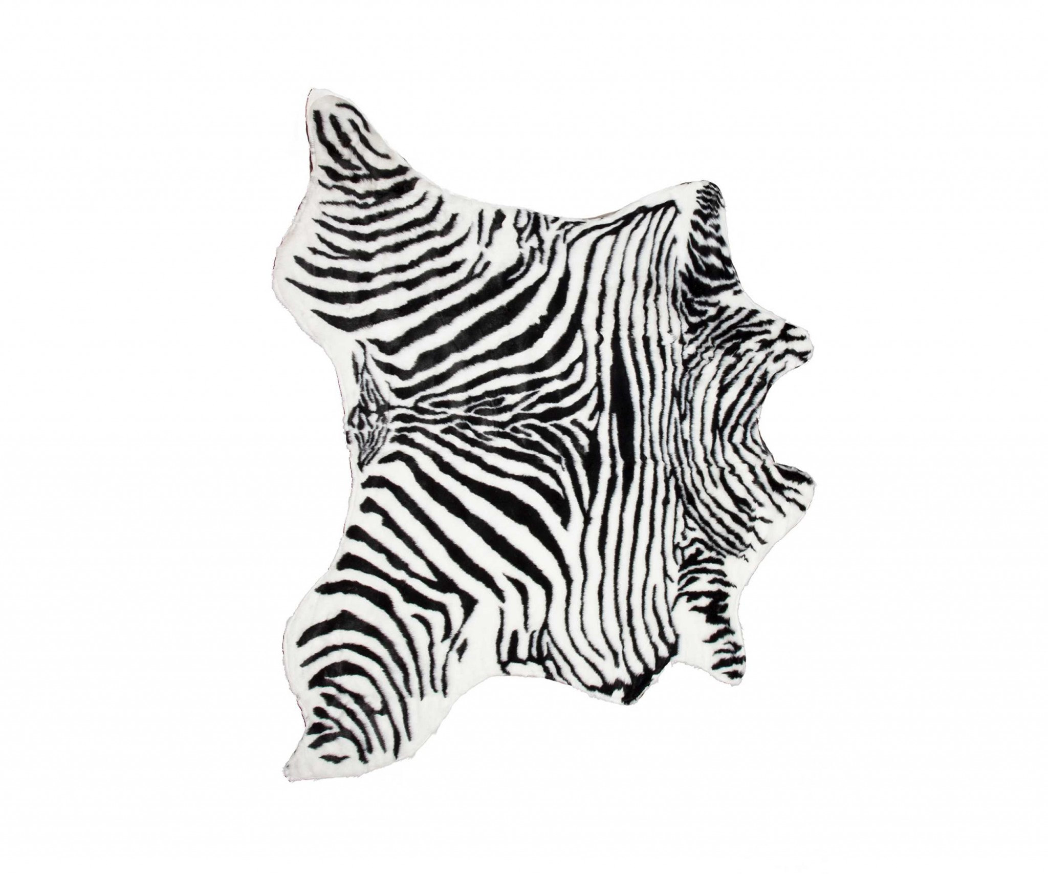 4.25' X 5' Denton Zebra Black And White Faux Hide Area Rug