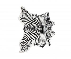 4' x 5' Faux Zebra Hide Black And White Area Rug
