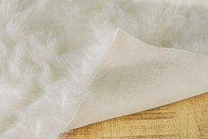 "60"" x 36"" Off White Rectangular Faux Fur - Area Rug"