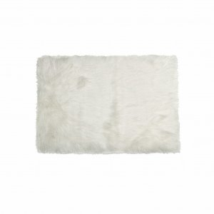"60"" x 96"" x 1.5"" Off White, Faux Fur, Rectangular - Area Rug"
