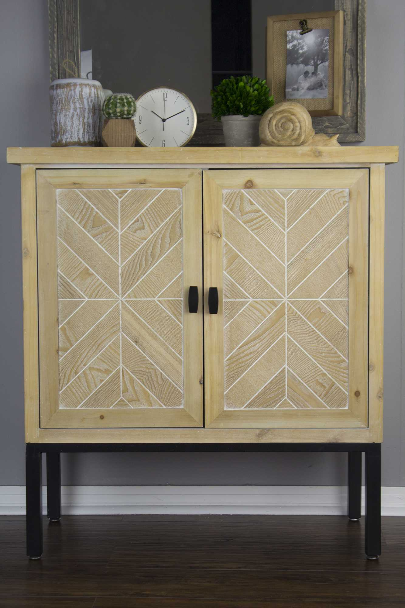 """26"""" White Washed Parquet Iron Sideboard with an Iron Frame and 2 Wood Doors"""