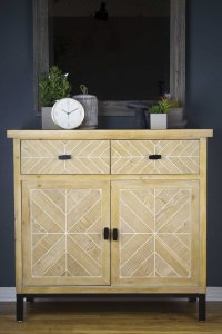 White Washed Parquet Wood, Sideboard with  Wood Drawers and  Wood Doors