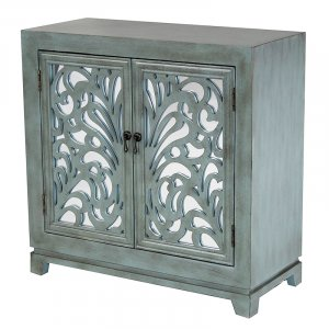 """32"""" X 14"""" X 32"""" French Blue MDF  Wood  Mirrored Glass Sideboard with  Doors"""